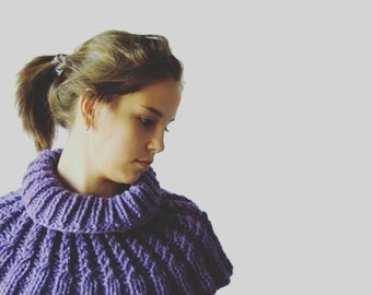 Hand Knitted Neck Warmer, Purple Shoulders Warmer, Purple Infinity Shawl, Soft and Cozy Knitted Warmer, Warm Women Accessory for Shoulders,
