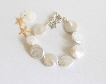 Classic Large Coin Pearl Bracelet, White, Pearl Bracelet, Sterling Silver, Large Pearls, Small Medium Large Wrist, Bridal, Brooke Bracelet