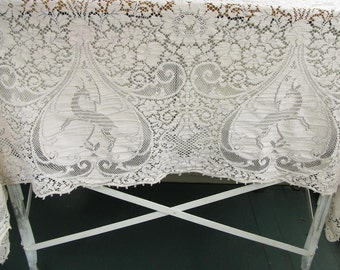 Vintage Lace Tablecloth, Ivory, rectangular, wedding, shower decor