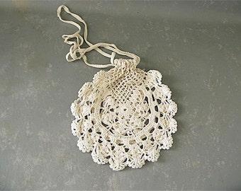 Vintage ivory crocheted purse, wedding purse, bag, small cream bag