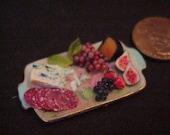 dollhouse porcelain miniature appetizer tray cheese salami cheese IGMA Fellow J Uyetake