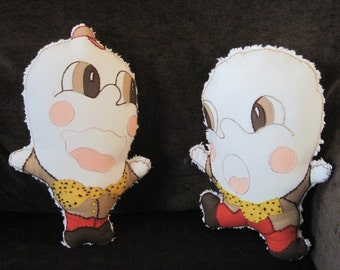 2 Humpty Dumpty Stuffed Dolls, Chenille Blanket Backed Pillows