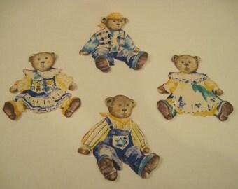 4 Teddy Bear Iron-on Appliques