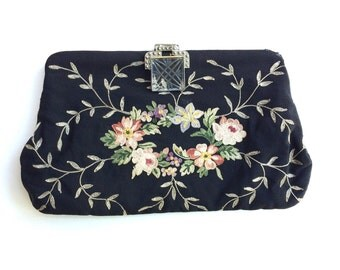 Vintage Embroidered Evening Clutch Purse