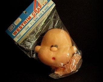 Plastic Momo Head, Plastic Doll Head, 4 and a half inch, Vinyl Head And Hands, Item No 6490, Vinyl Doll Parts, Black Eyes Baby Head, Plastic