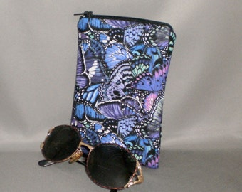 Eyeglass or Sunglasses Case - Padded Zippered Pouch - Butterfly - Purple