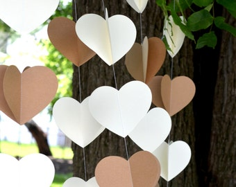 3D Hearts Garland Backdrop Set - 5 large heart banners in cream and Kraft with custom colors available