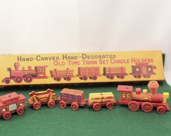 Vintage Birthday Cake Candle Holder Wood Train Set Original Box made Japan Holds 6 Candles