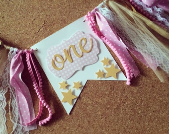 Pink and Gold Birthday High chair skirt