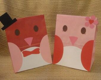 Valentines Day Bird Treat Sacks - Woodland Forest Bird Tweet Theme Birthday Party Favor Goody Bags by jettabees on Etsy