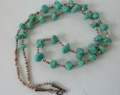 Vintage Navajo Turquoise Necklace Shell Heishi Nuggets Signed B in circle 24.5""