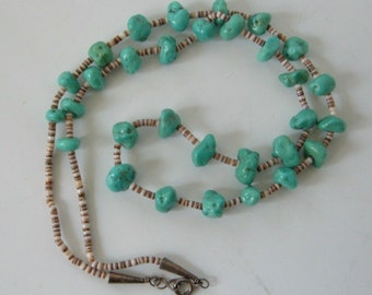 """Vintage Navajo Turquoise Necklace Shell Heishi Nuggets Signed B in circle 24.5"""""""