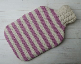 Knitted Hot water bottle Cover Pink and Cream Stripes wool and alpaca