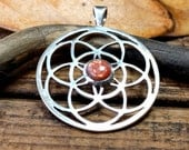 Sunstone Interlocking Celtic Rings Sterling Silver Pendant Focal Destash Close out
