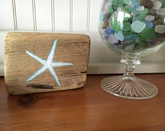 Reclaimed Hand Painted Driftwood Starfish Block, Shelf Sitter Sign,Coastal Beach Cottage Home Decor,Bathroom Nautical