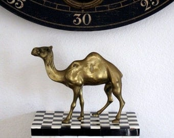 Brass Camel Vintage Camel Brass Collectible Brass Animal Egyptian Decor Gold Statue Desert Animal Mid Century Boho Decor Sahara Desert Egypt