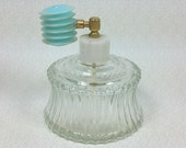 PERFUME BOTTLE, Clear Glass with Plastic Accordion Atomizer, 1950's - 1960's, Vintage Scent Bottle