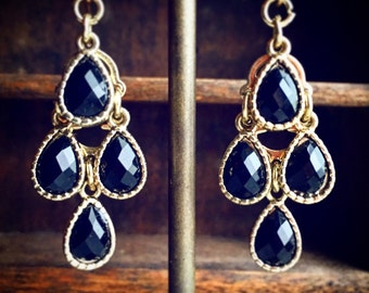 Vintage Black and Gold Chandelier Earrings / Faceted Gypsy Style Bohemian Boho  Lightweight Belly Dancer Costume Cosplay