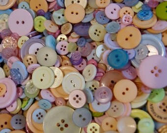 50  Pastel  Buttons, Blue, Pink, Lavender, Yellow,  Melon  Mix   Grab Bag Crafting Jewelry Collect (1378)