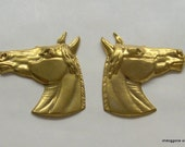 Vintage Brass Horse Head Stampings, Opposite Facing Horse Head Pair, Craft Supply, Equestrian Stampings