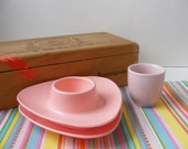 Vintage Pink Egg Cups, One Pink Ceramic Made in England, OR a Set of Two Pink Hard Plastic Melmac, Stackable Space Age Triangular