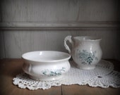 Blue Transferware Creamer and Sugar Bowl Vintage Ironstone Home & Living Kitchen Dining Serving Blue White Ironstone