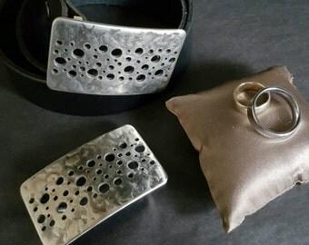 "Groomsmen Gift Confetti Belt Buckle Hypoallergenic Original Blue Jean Belt Buckle fits 1.5"" Leather Belt Hand Forged Silver Stainless Steel"