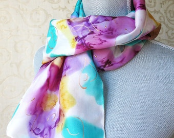 Magenta  and Orchid Floral Silk Scarf Discounted