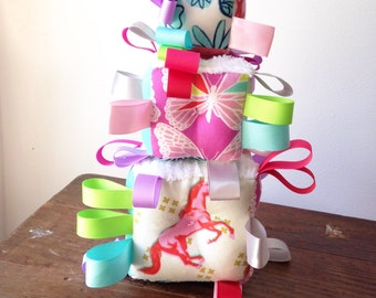 Pink Mustang Horse Baby Block, Colorful Pinks, Aqua Periwinkle Lavender Lime Green, Ribbon Rattle Sensory Toy, Arrows, X's, Butterflies
