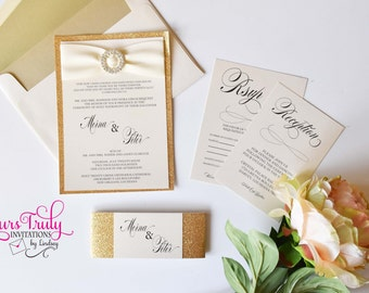 Sample - Gold Glitter Crystal and Glam Wedding, Bat Mitzvah or Party Invitation Suite with Belly Band Custom in your colors