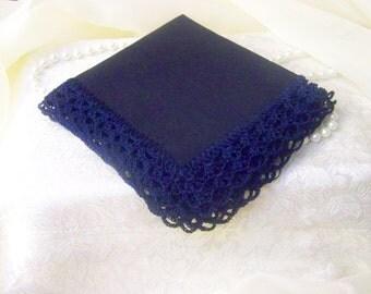 Navy Blue Handkerchief, Hanky, Hand Crochet, Bridal Party,  Lace, Lacy, Crochet Handkerchief, Crochet Hanky, Hankie, Ladies, Bridesmaids,