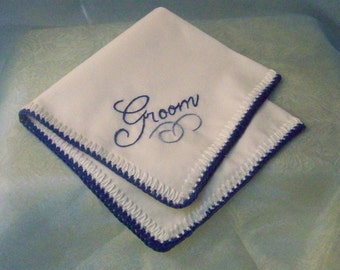 Groom Handkerchief, Hanky, Hankie, Blue, Embroidered, Personalized, Monogrammed, Hand Crochet, Hand Embroidered, Ready to ship, Custom