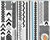 SALE - Chevron Digital Stamp Border, Modern Geometric Border ClipArt, Arrow Clip Art & PS Brush, Zig Zag Silhouette, Tribal Borders