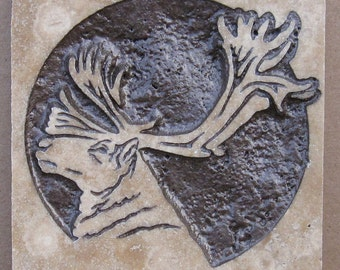 4x4 Caribou - Etched Travertine Stone Tile - SRA