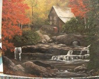 Mill, Waterfall, Stream, Creek, Tree, Water, Country,  Fall, Autumn, Bridge, Original Landscape Oil Painting