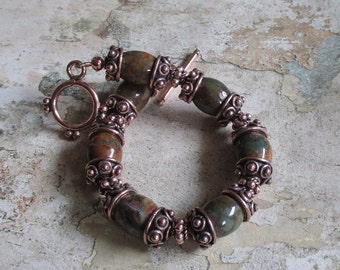 Green Opal and Copper -- African natural Green Opal and Copper Bracelet