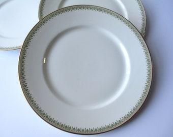 Antique Limoges Ahrenfeldt Depose Green Gold Dinner Plates Set of Three
