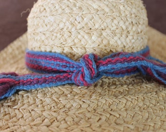 Hatband, Handwoven from Naturally Dyed Wool, Blue, Pink, Purple