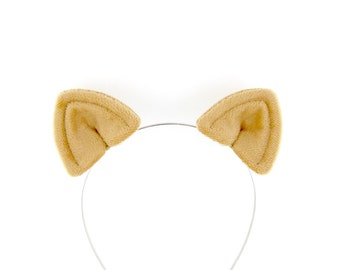 Cat Ears Hair Clips Tan Plush Cat Costume Ears