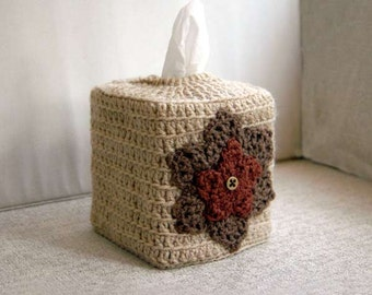 Rustic Tissue Box Cover, Crochet, Bathroom Decor, Nursery Decoration, Kleenex Tissue Holder, Farmhouse Home Decor, Country Chic, Brown, Tan