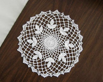 White Clover Crochet Lace Doily, New Table Topper, Modern Home Decor, Woodland Decoration