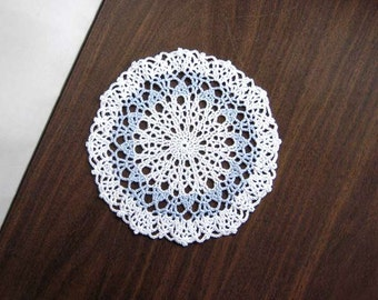 Crochet Lace Doily, Blue and White Decor, Modern Table Accessory, Bridal Blue