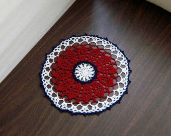 Americana Home Decor Crochet Doily, Patriotic Lace Table Topper, USA Flag Colors, Red, White, Blue