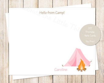 PRINTABLE personalized camping note cards . hello from camp notecards . flat stationery, girls stationary . pink tent, camp out . You Print