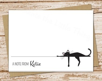 PRINTABLE personalized black cat note cards . cat stationery . stationary . folded cards . cat notecards . siamese cat . You Print