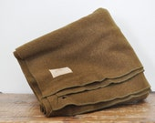Vintage Army Green Wool Blanket Cutter Condition 58 by 75 Olive Drab