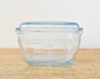 Vintage Blue Glass Fire King Small Covered Refrigerator Dish with Lid Philbe Sapphire Blue