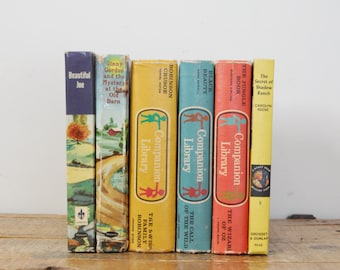 Vintage Childrens Book Collection Lot Classic Companion Library Set of 6 Multi Color Home Decor Display