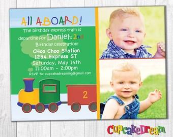 Train Birthday Invitation, All Aboard