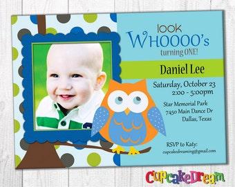 Owl Birthday Invitation, Boy First Birthday